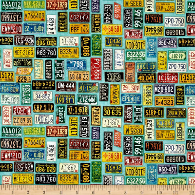 QT Fabrics Motorin' License Plates Aqua