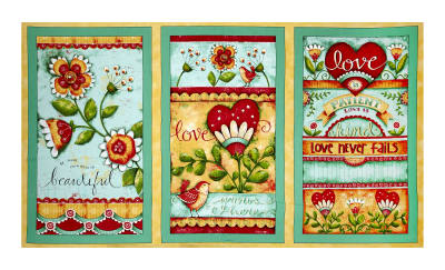 "QT Fabrics Love Grows Here Love Grows Here Panel 24"" Green"