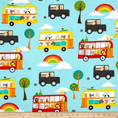 QT Fabrics On The Road Sightseeing Animals Allover Lt Blue