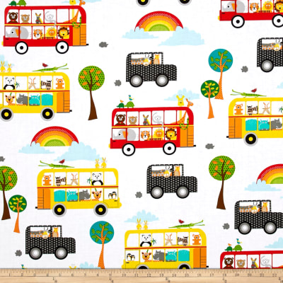 QT Fabrics On The Road Sightseeing Animals Allover White