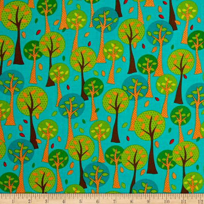 Quilting Treasures On The Road Trees Teal