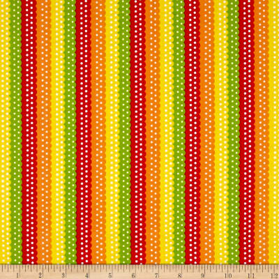 QT Fabrics On The Road Ribbon Stripe Tomato
