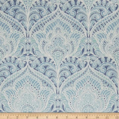 Fabricut 75008w Adelina Wallpaper Blue 01 (Double Roll)