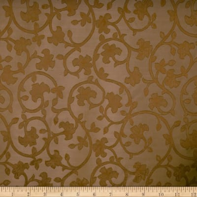 Fabricut Baroque Scroll Silk Brandy