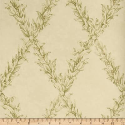 Charles Faudree Beauclaire Trellis Wallpaper Olive (Double Roll)