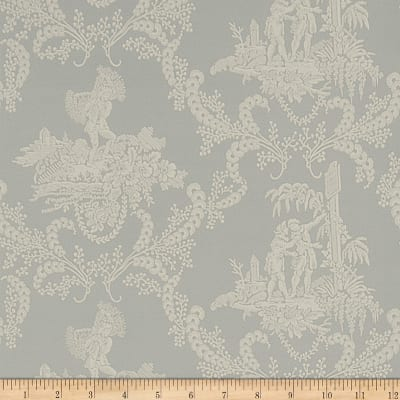 Charles Faudree Hamlet's Toile Wallpaper Silver Sage (Double Roll)