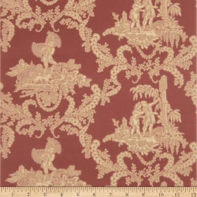 Charles Faudree Hamlet's Toile Wallpaper Red (Double Roll)