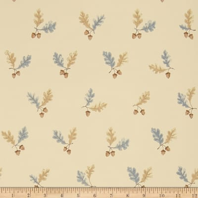 Charles Faudree Oak & Acorn Wallpaper Blue (Double Roll)