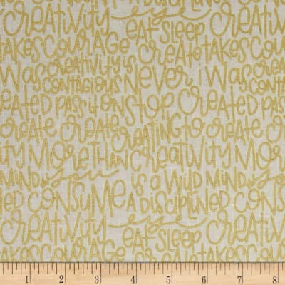 Riley Blake Text Sparkle Gold Metallic