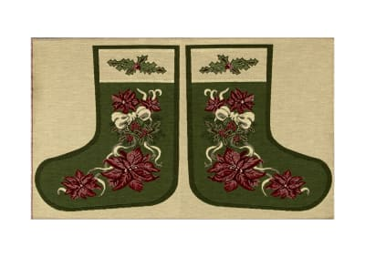 "Holiday Joy Jacquard Easy Sew Stocking Template Panel Poinsettia 27"" X 18.8"""