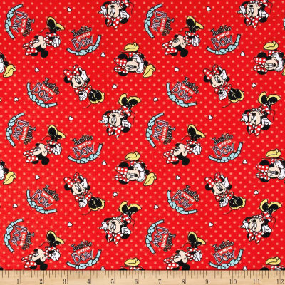 Disney Minnie Minnie Mouse Go With The Bow Jersey Knit Red