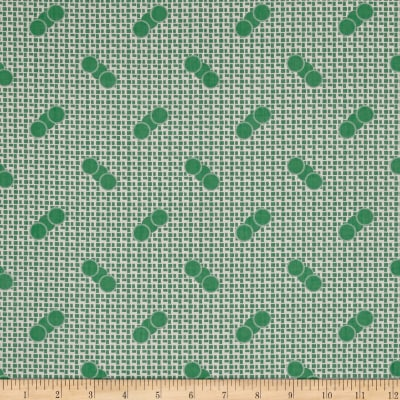 Penny Rose Sorbet Spots on Grid Green