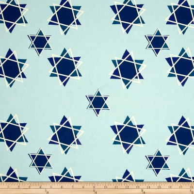 Star of David Digitally Printed Light Blue