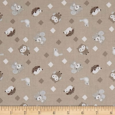 Little Forest Animals with Diamonds Taupe