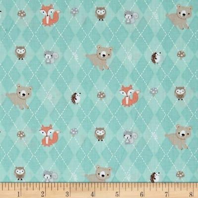 Little Forest Animals in Argyle Turquoise