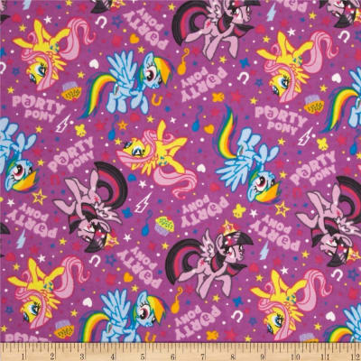 Hasbro My Little Pony Flannel Party Ponies Purple (Bolt, 10 Yard)