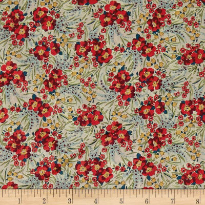 Liberty Fabrics Tana Lawn Swirling Petals Red