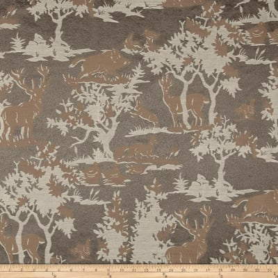 Mountain Cabin Wooded Wonder Jacquard Toile Grey