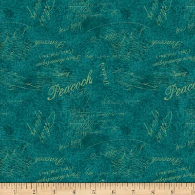 Wilmington Plumage Words Allover Teal