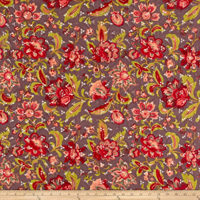 Imported Designer Floral Printed Eyelet Cotton Cocoa/Red/Olive