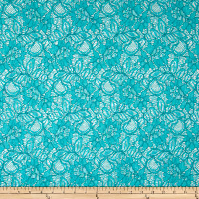Designer Floral Mesh Lace Turquoise