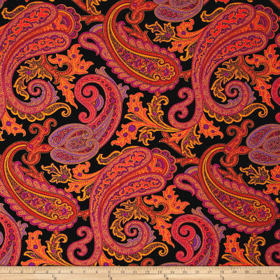 French Couture Stretch Jersey Knit Paisley Coral/Black