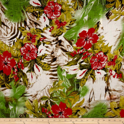 Italian Couture Silk Crinkle Chiffon Digital Print Hawaiian Red/Green