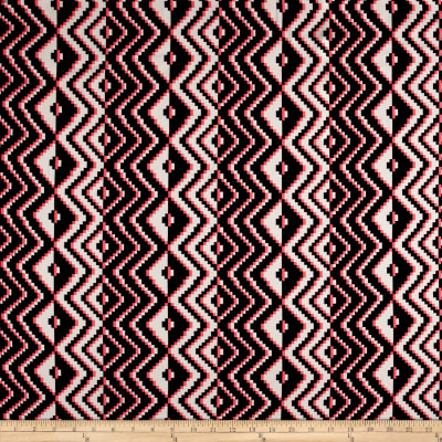 Milly Stretch Silk Crepe de Chine Aztec Pink/Black/White