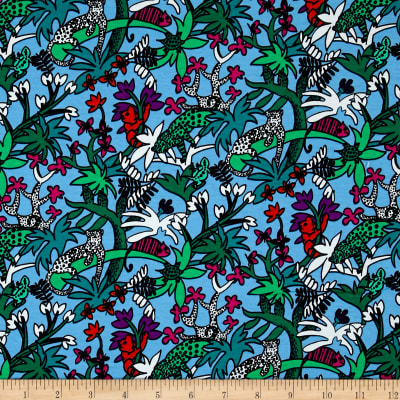 Max Mara Stretch Cotton Jersey Knit Digital Print Animal Floral Blue