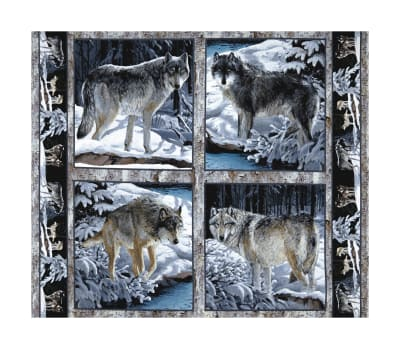 """Wild Wings Silver Shadows Wolf Pillow 36"""" Panel Multi"""