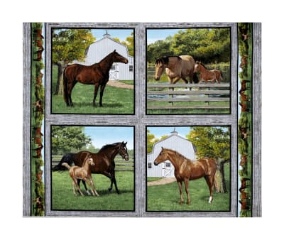 Wild Wings Summer Breeze Horse Pillow Panel Multi