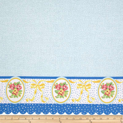 Penny Rose Mae Flowers Border Blue