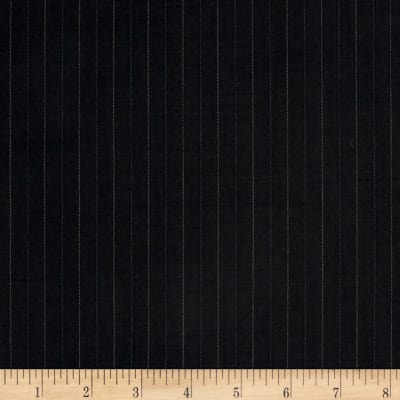 Super 120 100% Wool Twill Suiting Stripe Black/Navy