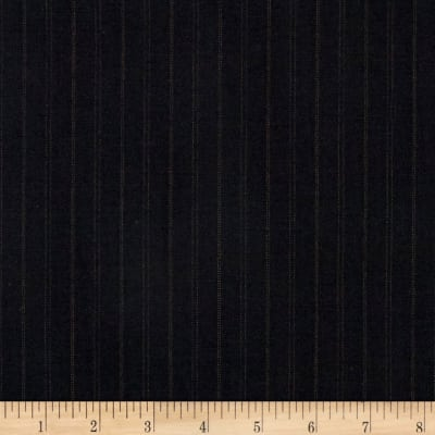 Super 120 100% Wool Twill Suiting Stripe Black/Brown