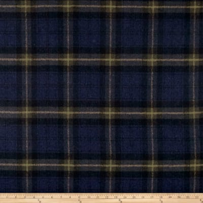 Wool Blend Coating Plaid Navy/Hunter