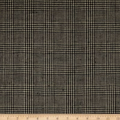 100% European Linen Plaid Black/Tan