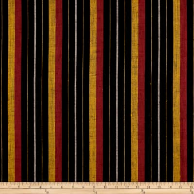 100% European Linen Stripe Black/Red/Yellow