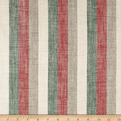 100% European Linen Stripe Green/Red/White