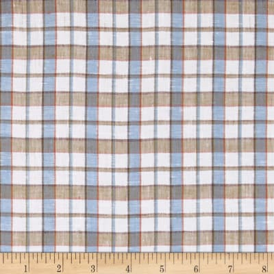 100% European Linen Sky Multi Plaid