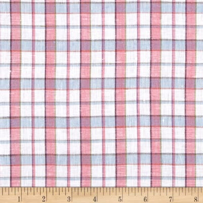 100% European Linen Pink Multi Plaid
