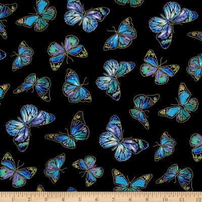 Timeless Treasures Metallic Enchanted Butterflies Black