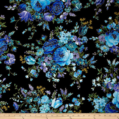 Timeless Treasures Metallic Enchanted Main Floral Black