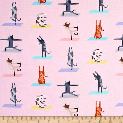 Timeless Treasures Downward Cat Yoga Cats Pink