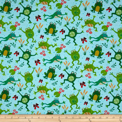 Timeless Treasures Playful Frogs Aqua