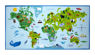 "Timeless Treasures Animal Map 24"" Panel Blue"