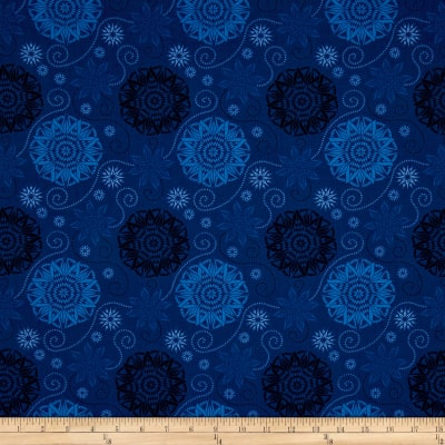 Timeless Treasures Bohemian Blues Quilterly Medallions Medium Navy