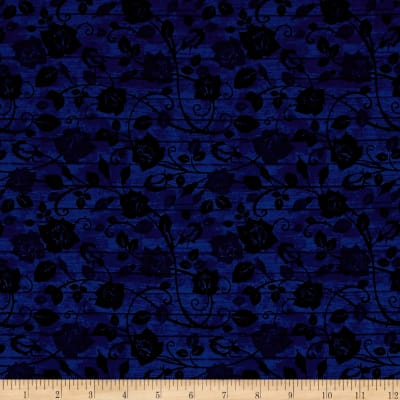 Timeless Treasures Bohemian Blues Floral On Wood Admiral