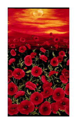 "Timeless Treasures Tuscan Poppies Sunset Poppies 24"" Panel Black"
