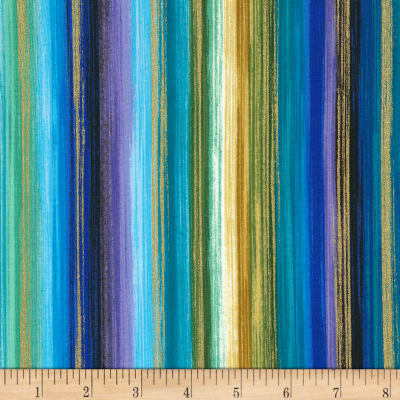 Timeless Treasures Metallic Enchanted Watercolor Stripe Brite