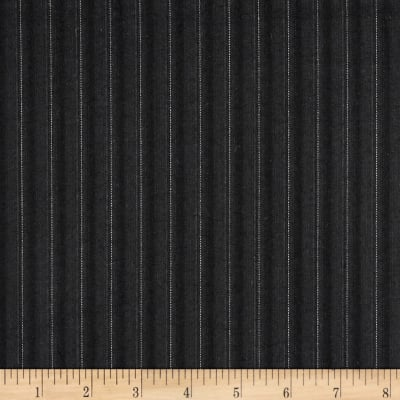 Pinstripe Super 100 Suiting Black/Gray